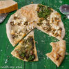 Pizza alba cu trei branzeturi si pesto de leurda (White pizza with three cheeses and wild garlic pesto)