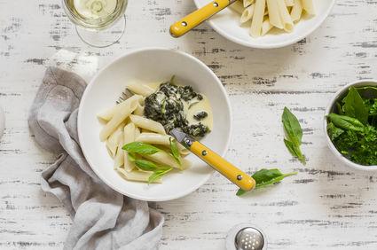 Paste cu spanac şi cremă de brânză