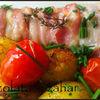 Mihalt in bacon si rosii cherry la cuptor ( Mihalt infofolit )