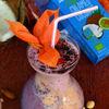 Smoothie cu aronia, crema de cocos, physalis si fructe de coarne