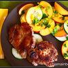 Friptura de porc cu salata de castraveti si nectarine
