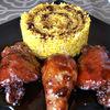 Pui caramelizat cu orez curry si reductie de otet balsamic