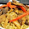Stir-fry de vita cu varza chinezeasca si ciuperci shiitake
