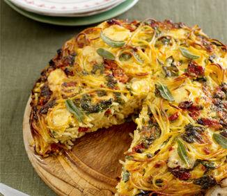 Reţeta lui Jamie Oliver: Budincă de spaghete cu brânză sărată