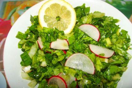 Salata de leurda cu ardei iute si menta